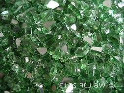 "1/4"" Green Reflective Fireglass Fireplace Glass Rocks Fire P"