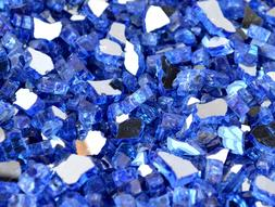 """10 LBS 1/4"""" SAPPHIRE REFLECTIVE ,Fireplace,Fire Pit Glass Ro"""