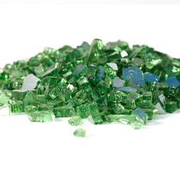 "10lbs 1/2"" Green Reflective Fire Glass crystals Fireplace Ha"