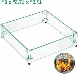17 5 square fire pit glass wind