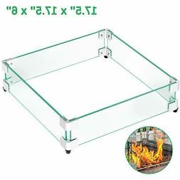 """GASPRO 17.5"""" Square Fire Pit Glass Wind Guard, Clear Tempere"""