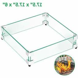 """GASPRO 17.5"""" Square Fire Pit Glass Wind Guard Clear Tempered"""