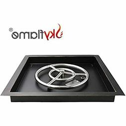 """18-inch Square Fire Pit Burner Pan 12"""" Round Ring Drop-in Fo"""