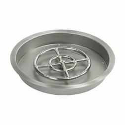 """19"""" Stainless Steel Round Drop-In Fire Pit Pan & Burner by A"""
