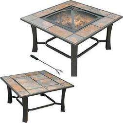 2-in-1 Fire Pit Coffee Table Convertible Square Tile Top Out