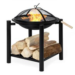 Best Choice Products 21.5in Outdoor Fire Pit Bowl Table Back