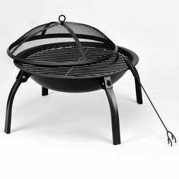 """22"""" Black Round Folding Outdoor Patio Camping Fire Pit Stove"""