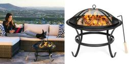BCP 22in Fire Pit Bowl w/ Screen Cover, Poker - Black
