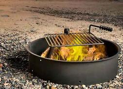 """24"""" 32"""" 36"""" Steel Fire Ring w/ Cooking Grate Campfire Pit Ca"""