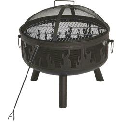 24-inch Steel Round Fire Pit with Antique Bronze Finish with