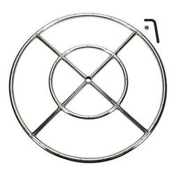 """Celestial Fire Glass 24"""" Round Fire Pit Burner, Stainless St"""