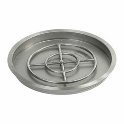 """25"""" Stainless Steel Round Drop-In Fire Pit Pan & Burner by A"""