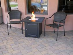 """28"""" Matte Black Propane Fire Pit Table with Free Arctic Ice"""