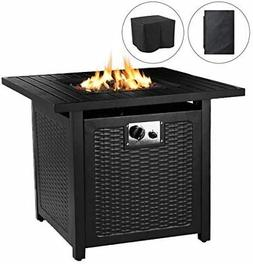 28'' Outdoor Propane Gas Fire Pit Table 50,000 BTU Square Ga