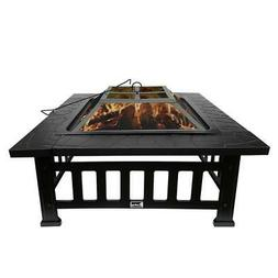 "32"" Fire Pit BBQ Square Table Backyard Patio Garden Stove Wo"
