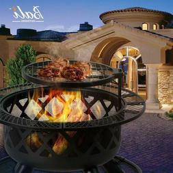 32'' barbecue Pit Wood Burning BBQ  & Outdoor Firepit Ba