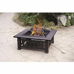 """32"""" Fire Pit with Cover Outdoor Patio Lawn and Garden Chimin"""