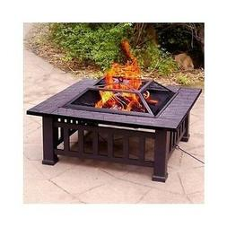 """32"""" FIRE PIT WITH COVER WOOD BURNING OUTDOOR PARTY GRILL PAT"""