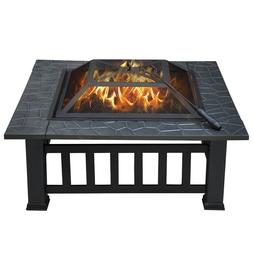 32'' Outdoor Square Fire Pit Metal, Barbecue, Includes Cover