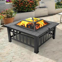 """32"""" Square Metal Fire Pit Outdoor Patio Heater Fireplace Bac"""