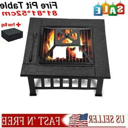 "32""Square Wood Burning Fire Pit Outdoor Garden Patio BBQ Gri"