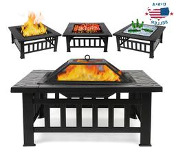 """32"""" Wood Burning Fire Pit Outdoor Patio Round Bonfire Pits w"""