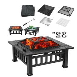 32'' Wood Burning Fire Pit Table Outdoor Garden BBQ Grill Bo
