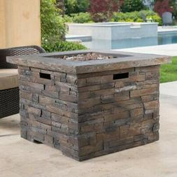 34.5 in. x 24 in. Gas Propane Fire Pit Square Natural Stone