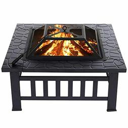 KINGSO 34'' Outdoor Fire Pit Metal Square Firepit Patio Stov
