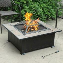 "34"" Square Tile Table Top Wood Burning Fire Pit  Backyard Pa"