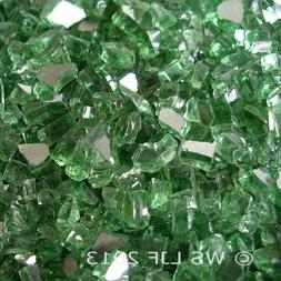"40 LBS 1/4"" Green Reflective Fireglass Fireplace Glass Rocks"