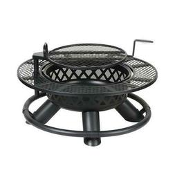 """47"""" Black Outdoor Backyard Steel Wood Burning Fire Pit With"""