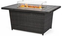 52 inch Wicker Propane Fire Pit Table 50,000 BTU w/ Glass Wi