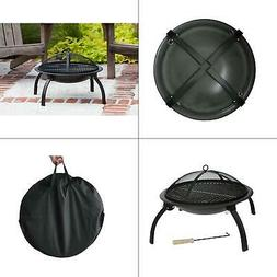 "Fire Sense - 22"" Folding Fire Pit - Black"