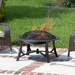 Fire Sense Augusta 30 in. Wood Burning Fire Pit, Brushed Cop