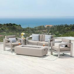 Aviara Outdoor 4-Seater Aluminum Chat Set with Fire Pit and
