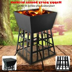 Black Fire Pit Square Log Patio Garden Heater Outdoor Table