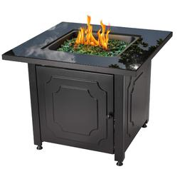 Black Firepit Table Outdoor Gas Fire Pit Patio Propane Firep
