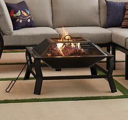 Brand New Premium Square Wood Burning Fire Pit with Protecti