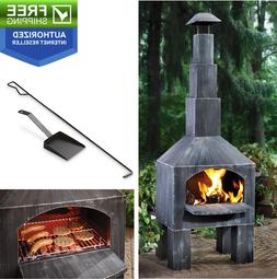 Cabin Style Cooking Outdoor Steel Chiminea Patio Fireplace O