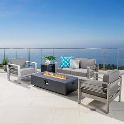 Cape Coral Outdoor 4-seat Chat Set with Fire Pit  by