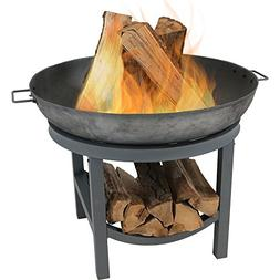 Sunnydaze Cast Iron Fire Pit Bowl Built-in Log Rack, Outdoor