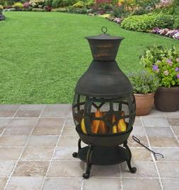 Chiminea Fireplace Cast Iron Outdoor Fire Pit Patio Heater A