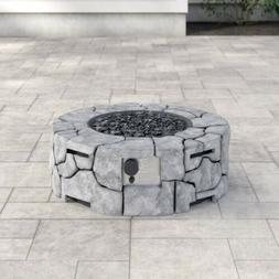 Concrete Propane Fire Pit Outdoor Cooking Stone Gray Bowl Ca