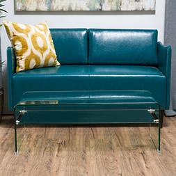 Contemporary Glass Rectangle Coffee Table with Shelf
