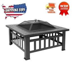 Courtyard Square Metal Fire Bowl with Accessories Black Outd