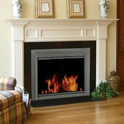 Pleasant Hearth Craton Cabinet Fireplace Screen and Smoked G