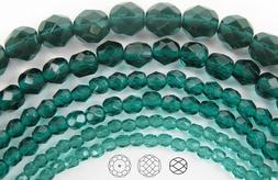 Czech Fire Polished Round Faceted Glass Beads in Blue Zircon