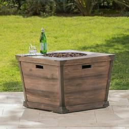 Delaney Outdoor 32-inch Propane Square Fire Pit with Lava Bl