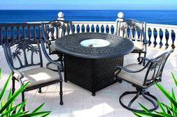 Dining table with fire pit in middle 5 piece patio cast alum